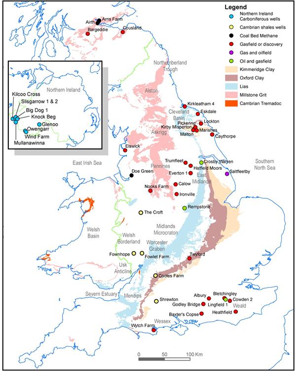 Основні поклади сланців у Великобританії. Джерело: bgs.ac.uk